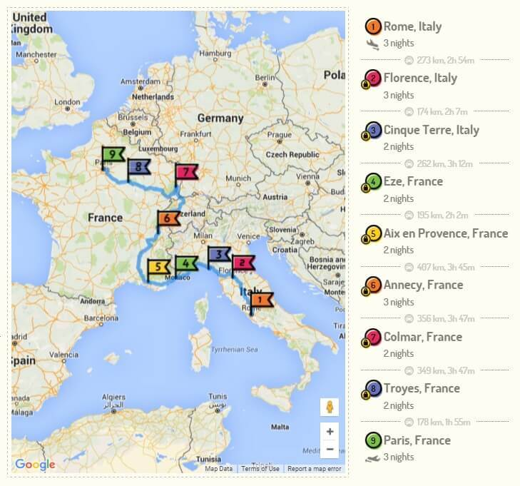 Research and plan your itinerary via RoutePerfect Trip planner