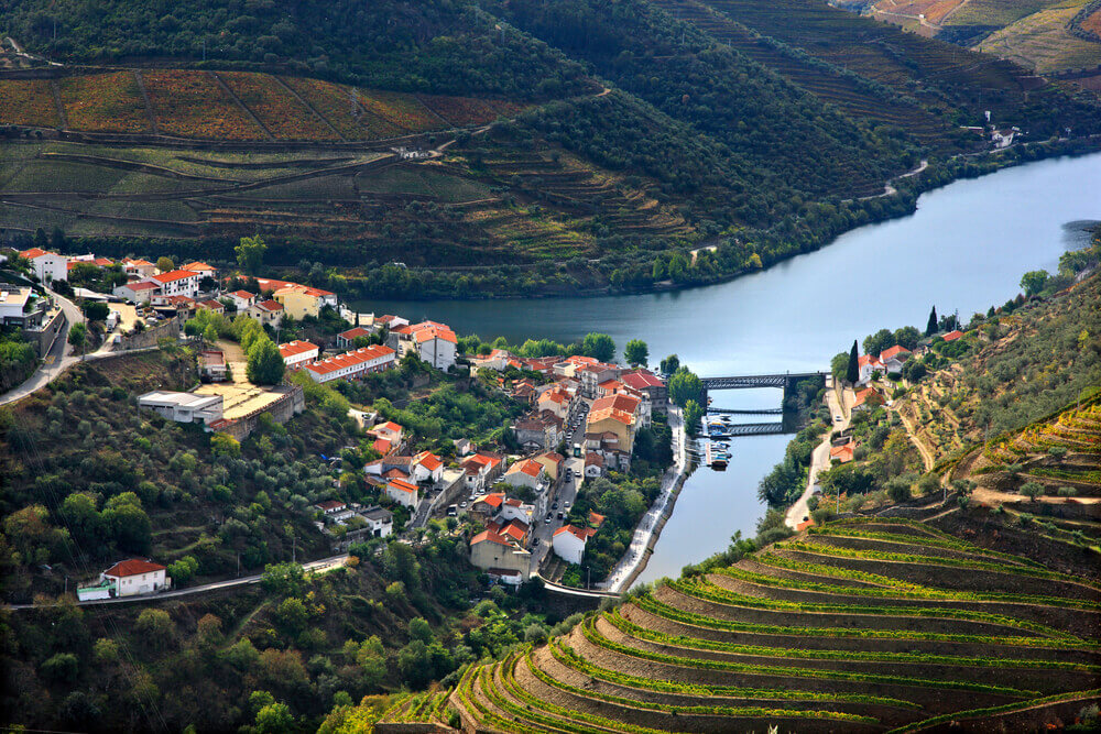 breathtaking landscapes in Europe. Pinhao town and Douro river, in the heart of Alto Douro Wine Region (UNESCO World Heritage, Site), Porto e Norte, Portugal