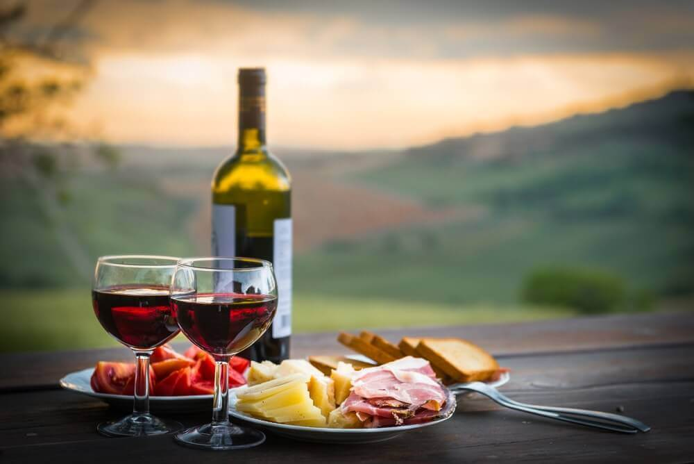 Eating great food and drinking good wine on your honeymoon