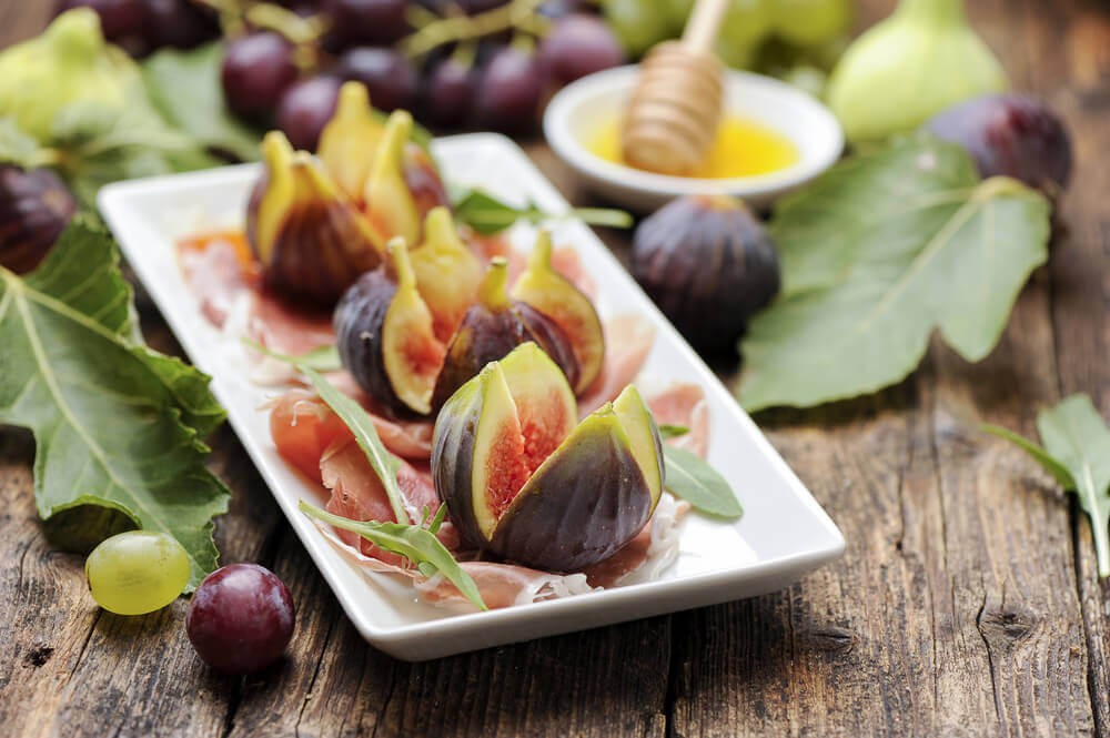 Parma ham with fresh figs in Parma, Italy