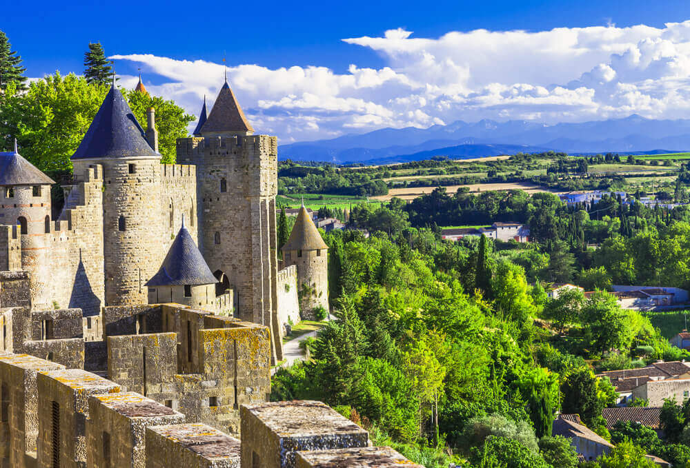 The castle fort in Carcassonne, France