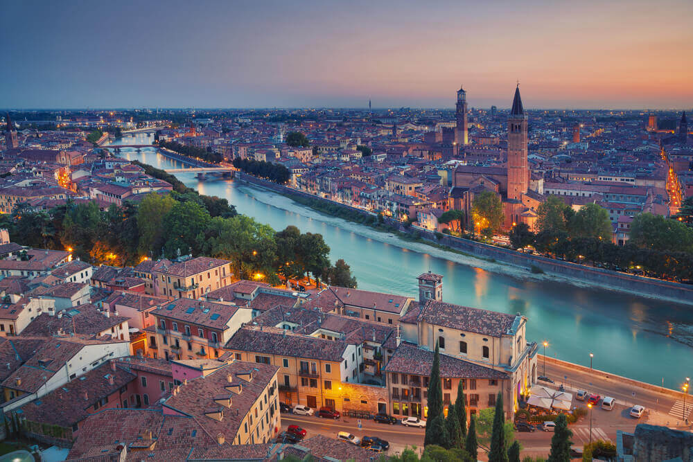 Sunset in Verona, Italy