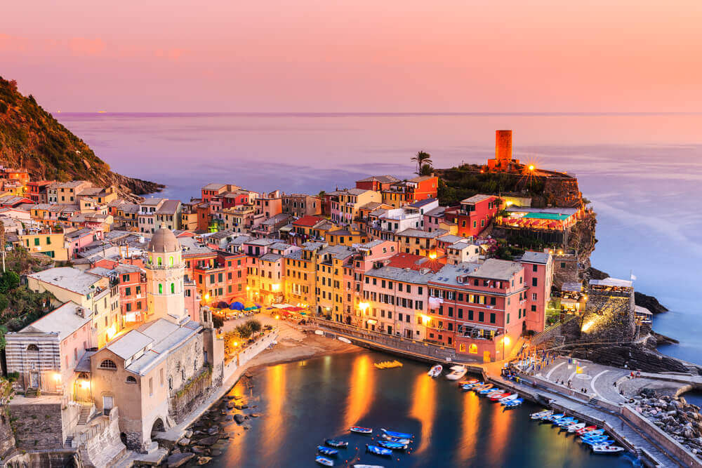 Vernazza at sunset, Cinque Terre, Italy