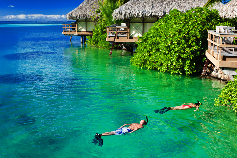 Diving in crystal water on your honeymoon