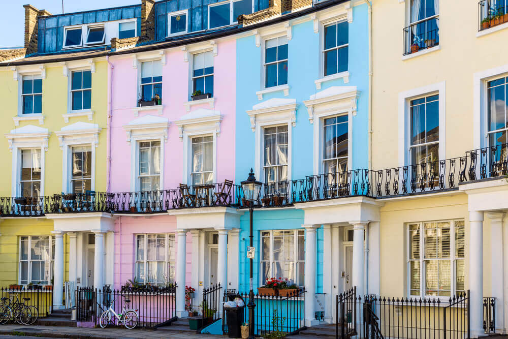 Colourful English terraced houses in Primrose Hill. London Holiday.