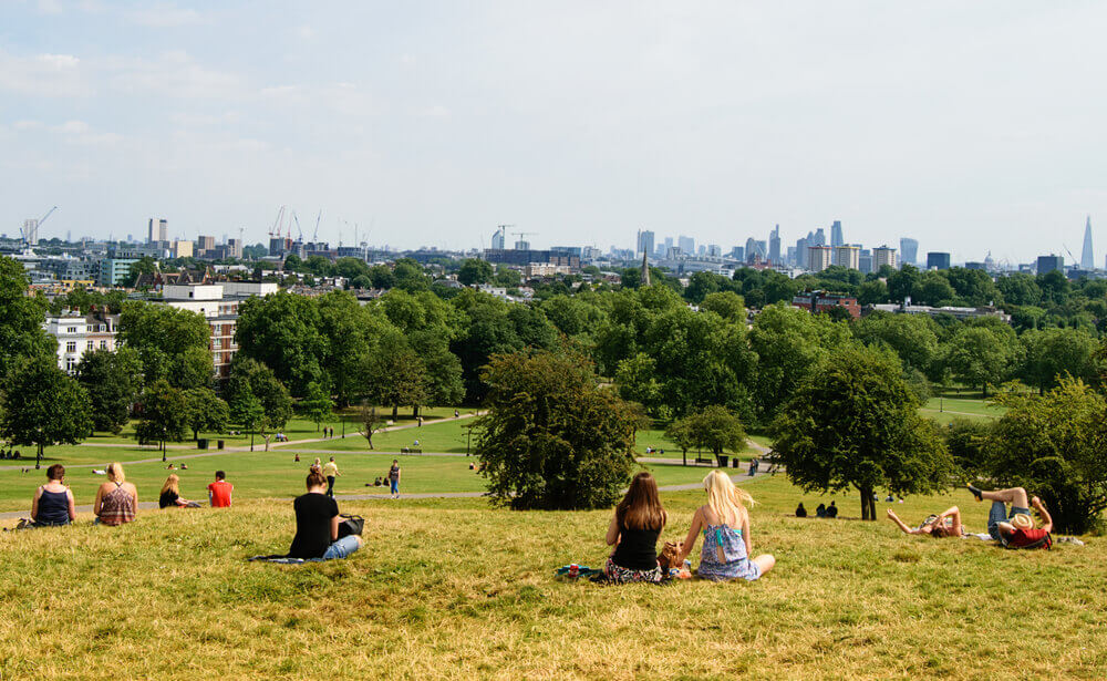 Primrose Hill. Spectacular view across London. London Holiday.