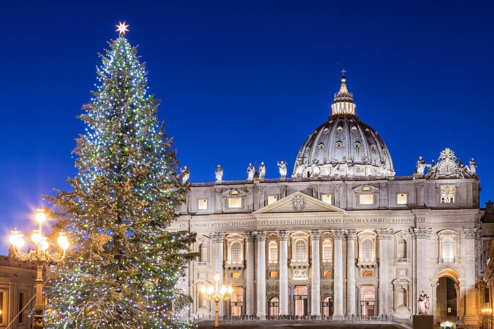 St. Peter Basilica at Christmas in Rome, Italy