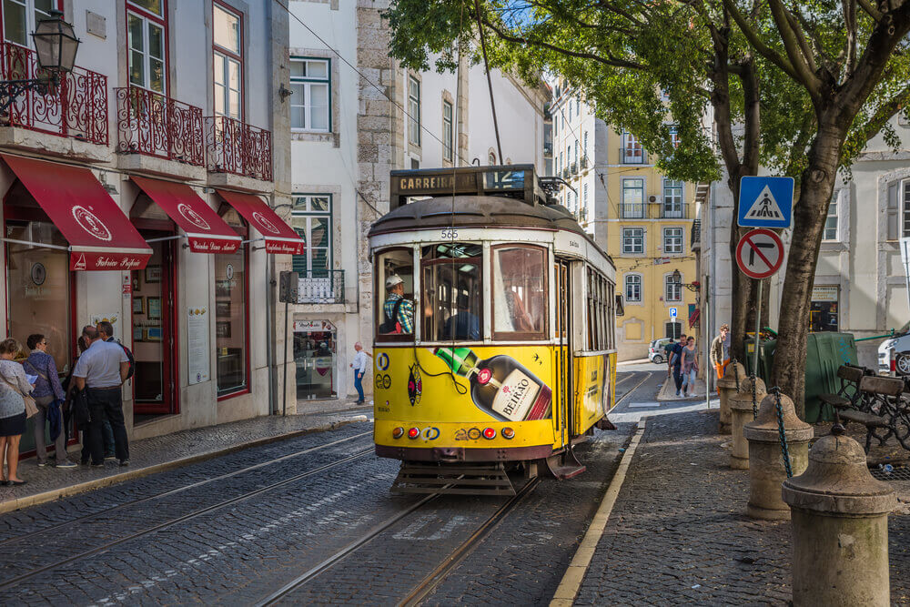 Yellow Trolley in Lisbon. Europe trip planner tool