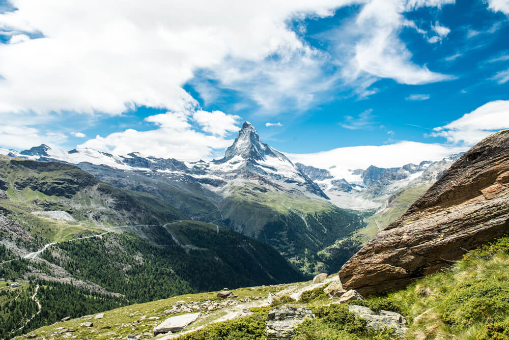 Scenic view on snowy Matterhorn (Cervin, Cervino)