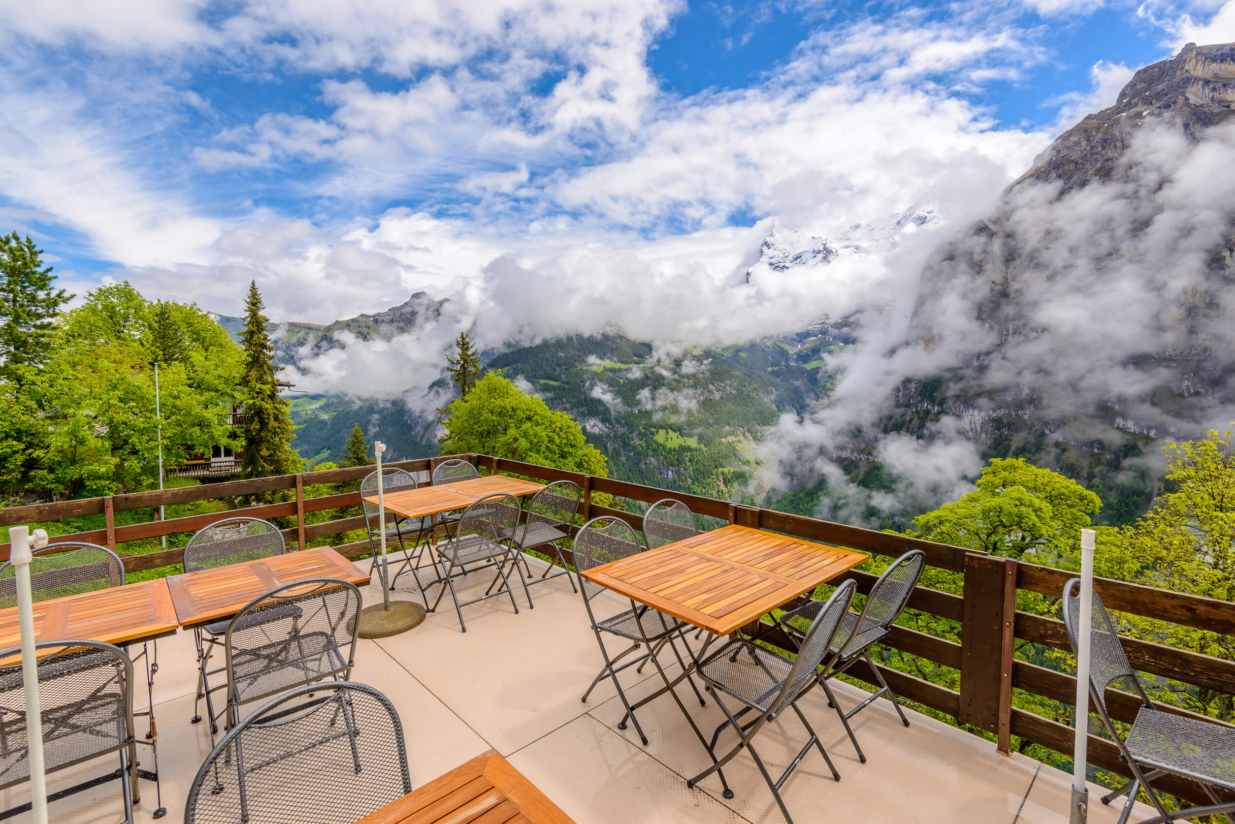 Cafe overlooking the Jungfrau Alps
