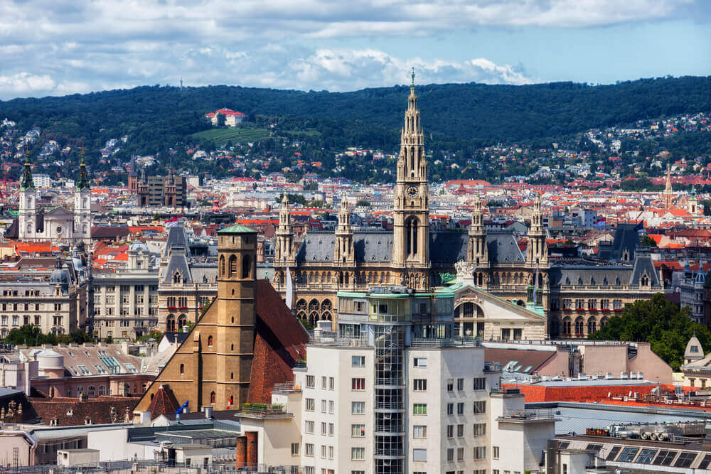 Cityscape with Rathaus - City Hall and Minoritenkirche church, Vienna