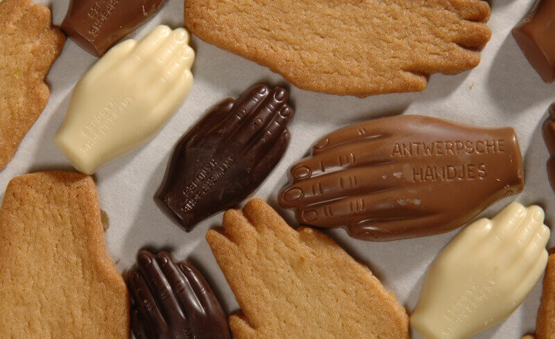 Holiday in Belgium: Assortment of hand-shaped cookies ('handjies')