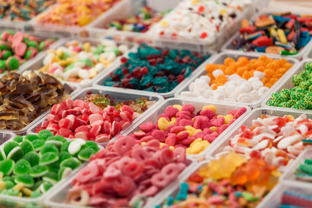 Holiday in Belgium: Assortment of jelly candies in many different colours