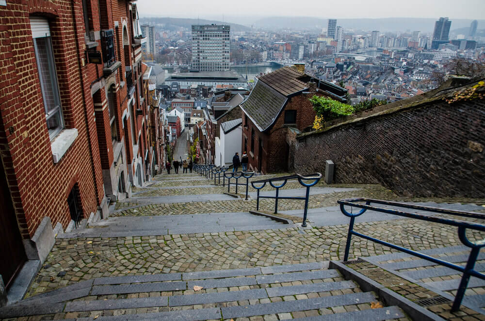 Holiday in Belgium: View from the top of a staircase spanning the city of Liege