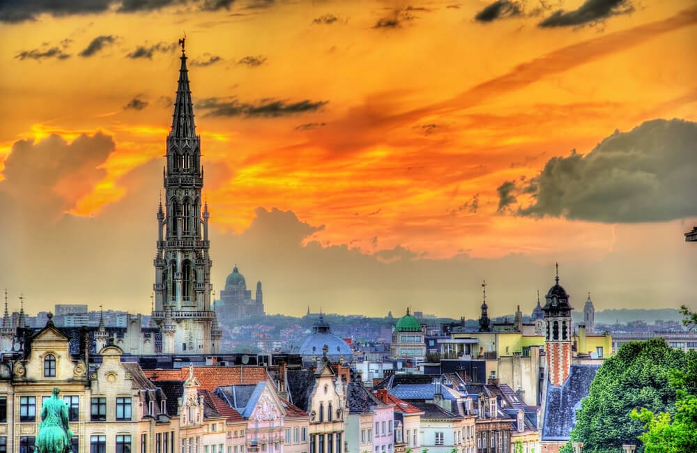 Holiday in Belgium: Sunset over colourful old buildings in Brussels