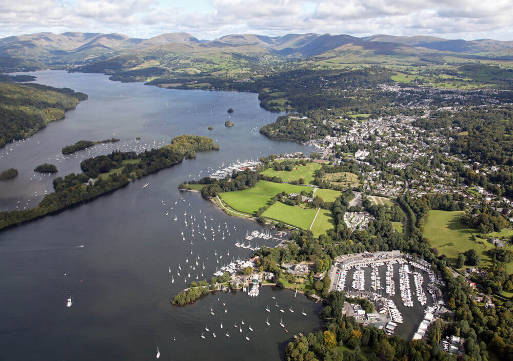 trip to England. aerial view of Windermere in the Lake District, Cumbria, UK