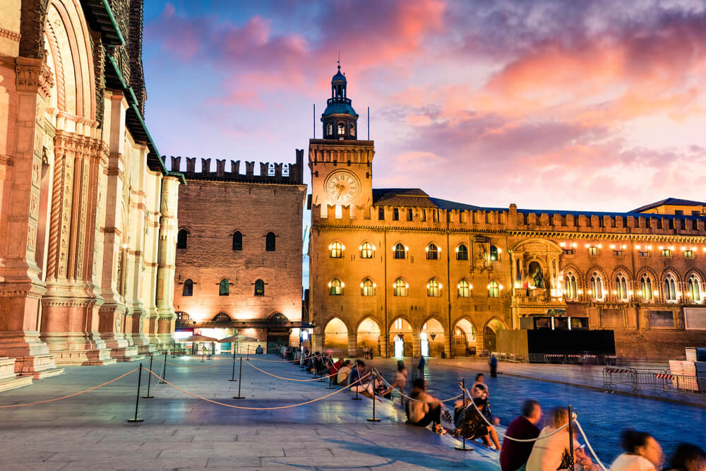 Colorful spring sunset on the main square of Bologna. attractions in Italy