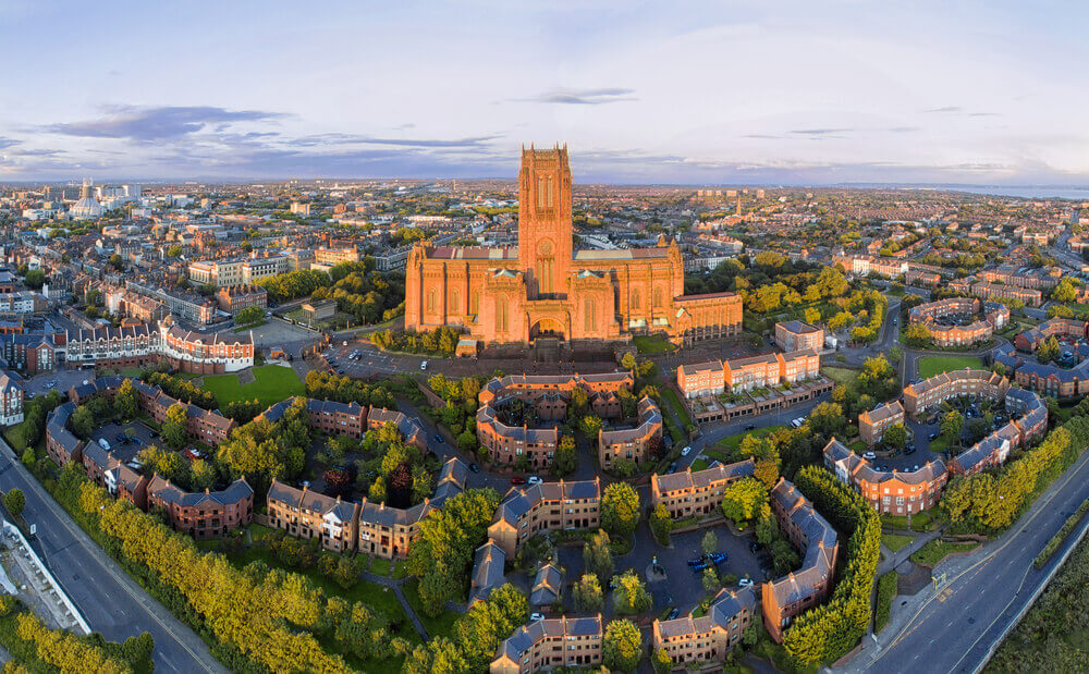 UK Trip. Liverpool city and cathedral, aerial shot