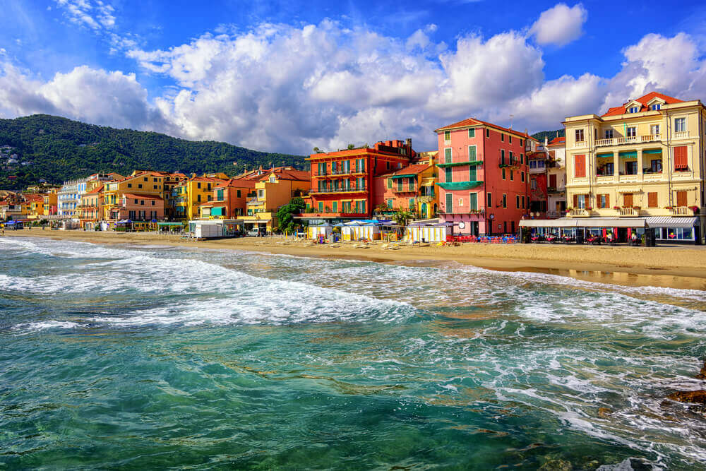 Mediterranean sand beach in traditional touristic town Alassio. attractions in Italy