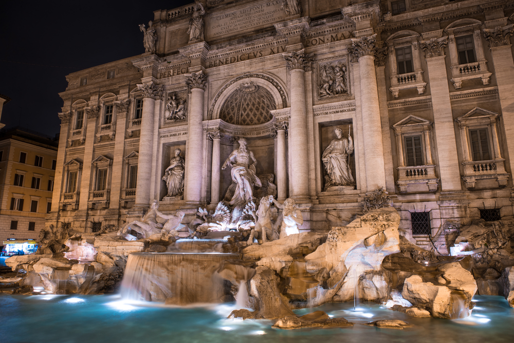 Night view over Fontana di Trevi, Rome