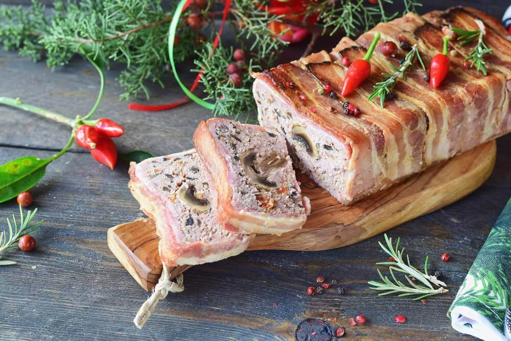Oven baked meatloaf with mushrooms