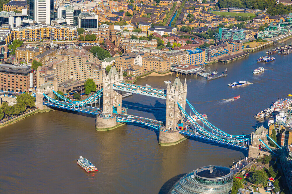 UK Trip. Panoramic aerial view of Tower Bridge in London in a beautiful summer night, England, United Kingdom