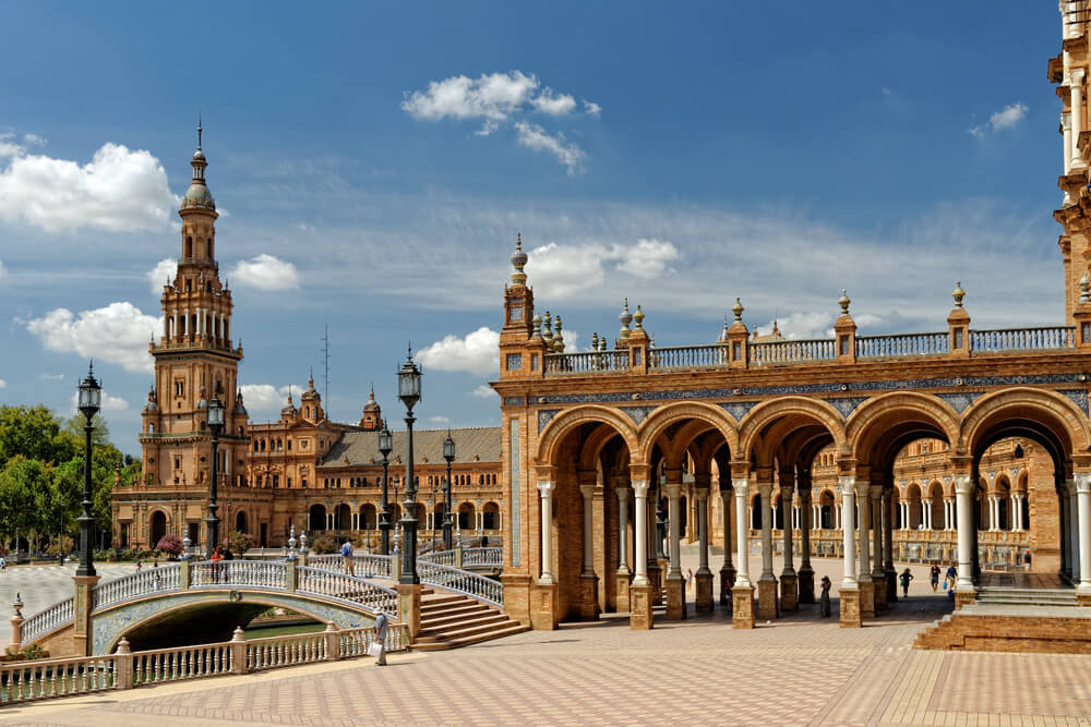 Plaza de Espana in Seville, Spain. tapas in spain