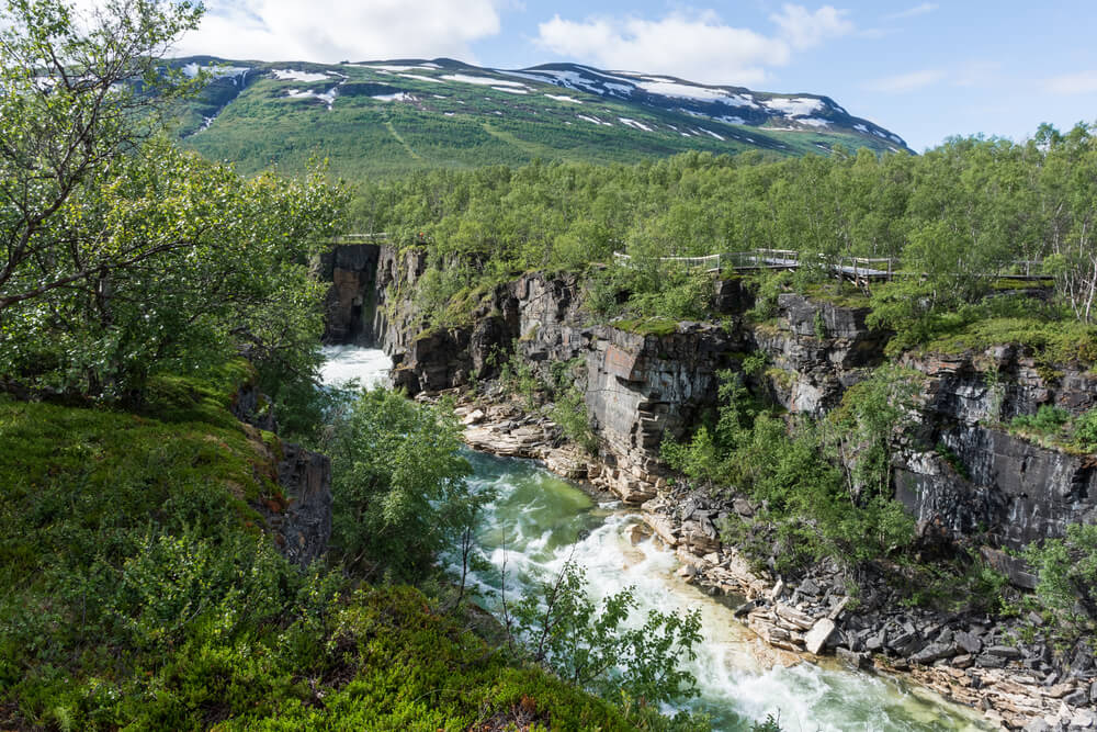 trip to Sweden. River flowing in the Canyon of Abisko National Park, Lapland, Sweden