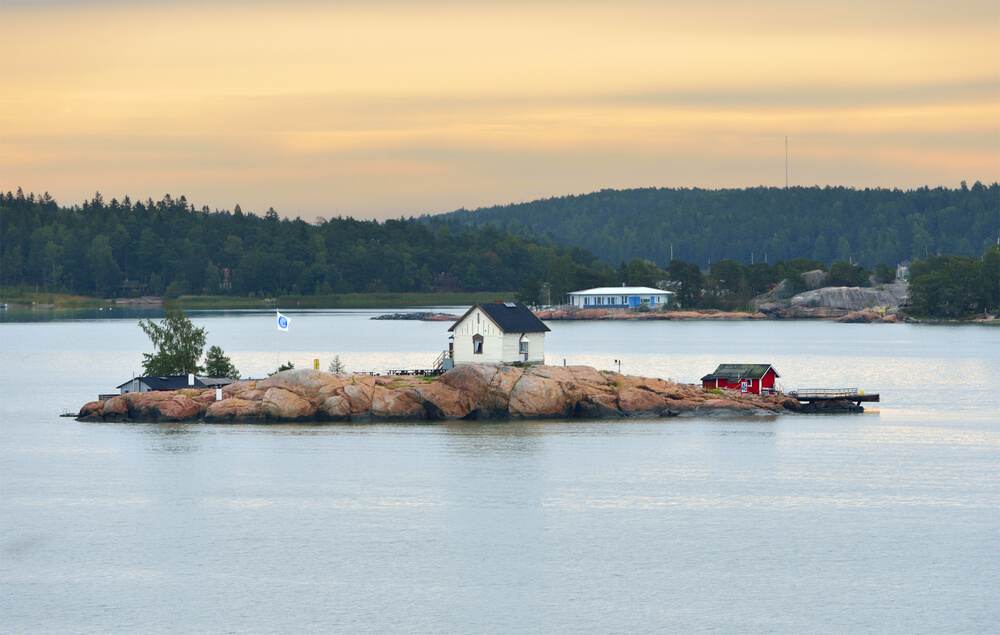 Trip to Finland. Rocky island in archipelago of Turku, Finland. Early morning, dawn