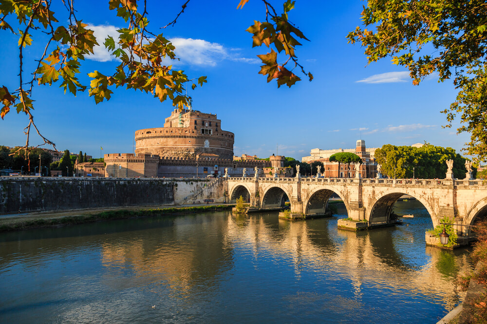 Saint Angelo castle and bridge over the Tiber river. Rome. attractions in Italy