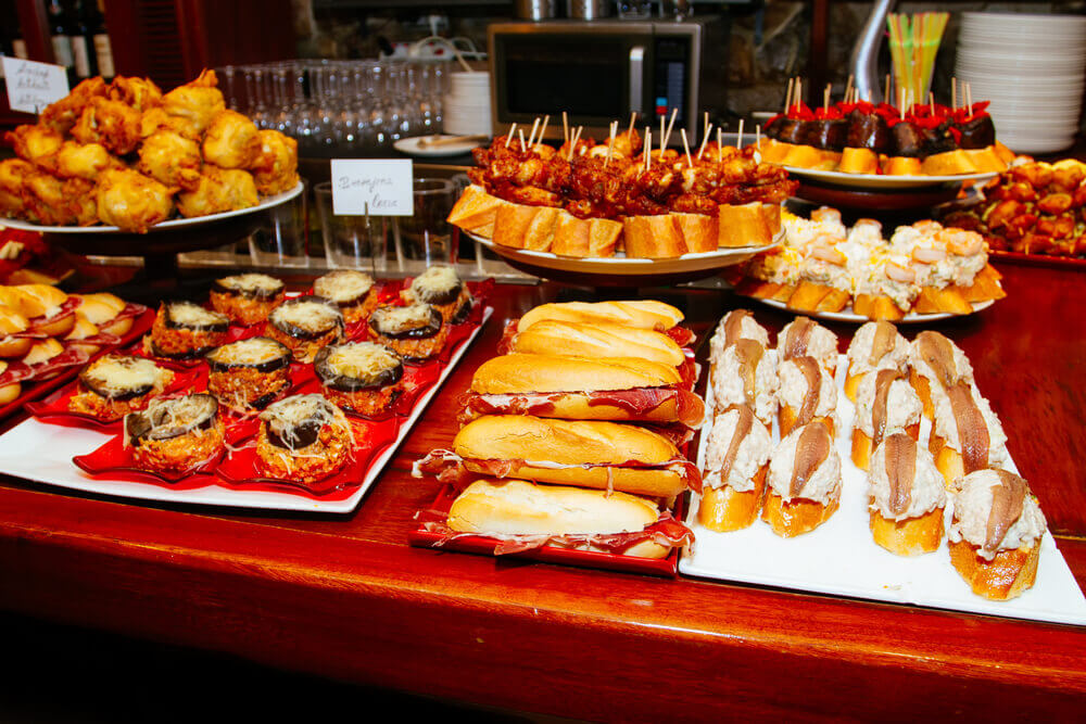 Spanish tapas called pintxos of the Basque country, tapas in spain
