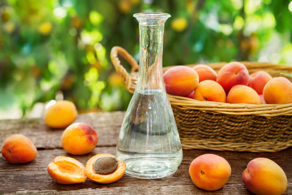 travel to europe. Apricot brandy in a bottle and fresh apricots in wicker basket