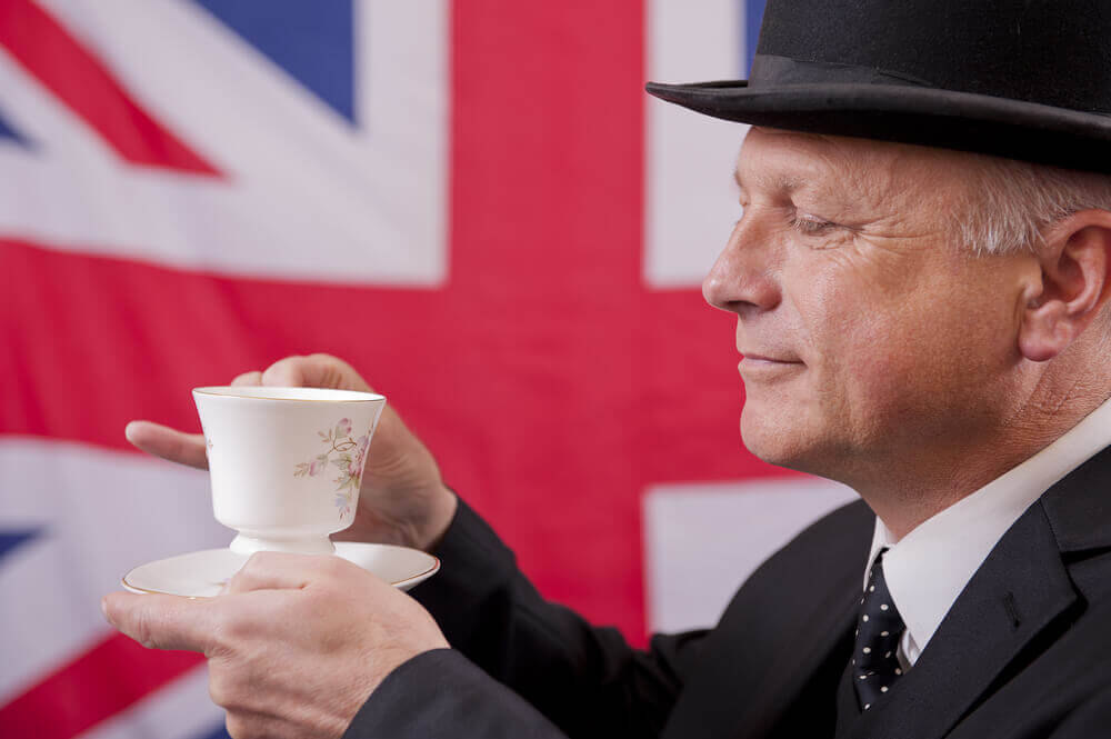 plan my route. English Gentleman Drinking Tea