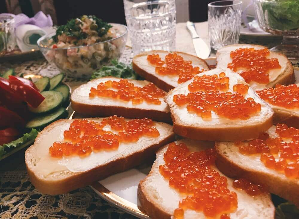 planning your trip. Red caviar sandwiches