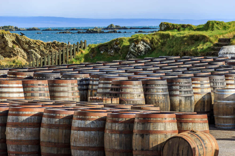 travel to europe. Scotch whisky barrels on the Island of Islay