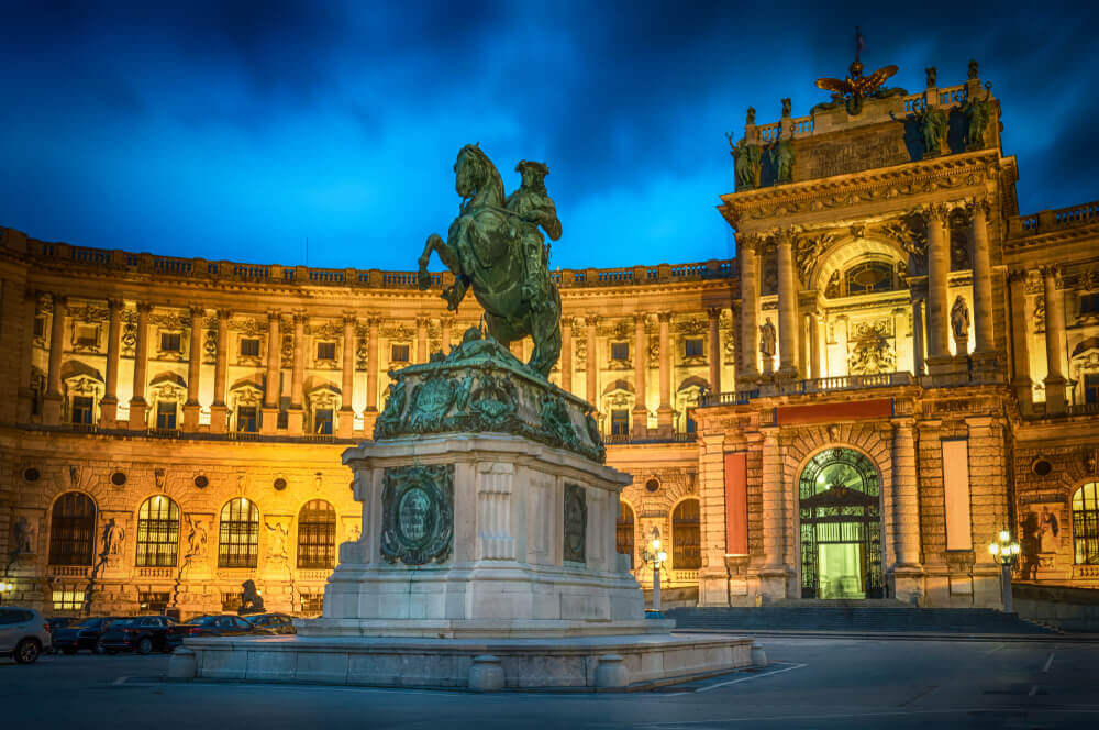 plan your trip. Statue of Emperor Joseph II. Hofburg palace in Vienna Austria - cityscape architecture background.