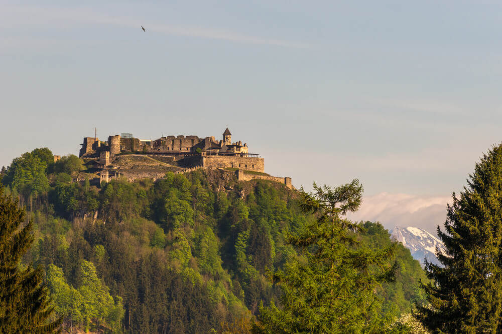 plan your trip. View of the old medieval castle of Landskron in VillachAustria