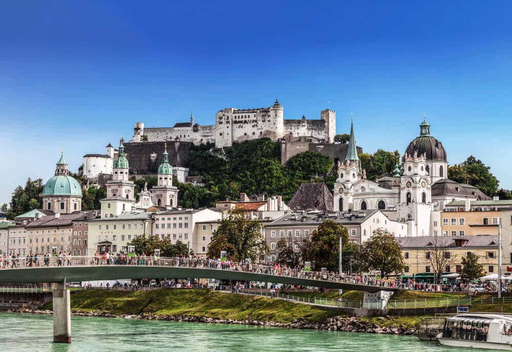 plan your trip. View of Salzburg and the fortress Hohensalzburg. Austria