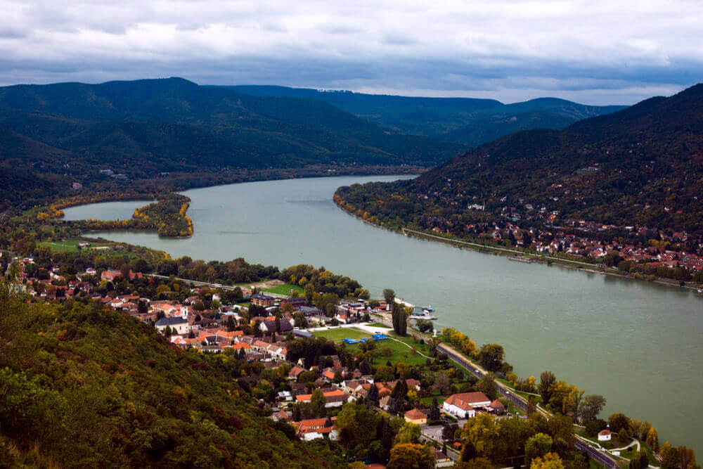 road trip map. Beautiful landscape in Visegrad in Hungary with Danube river.