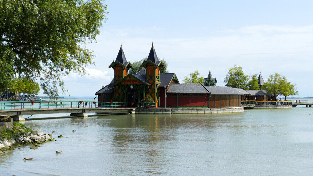 road trip map. Historic Island Bath in lake Balaton by Keszthely, Hungary