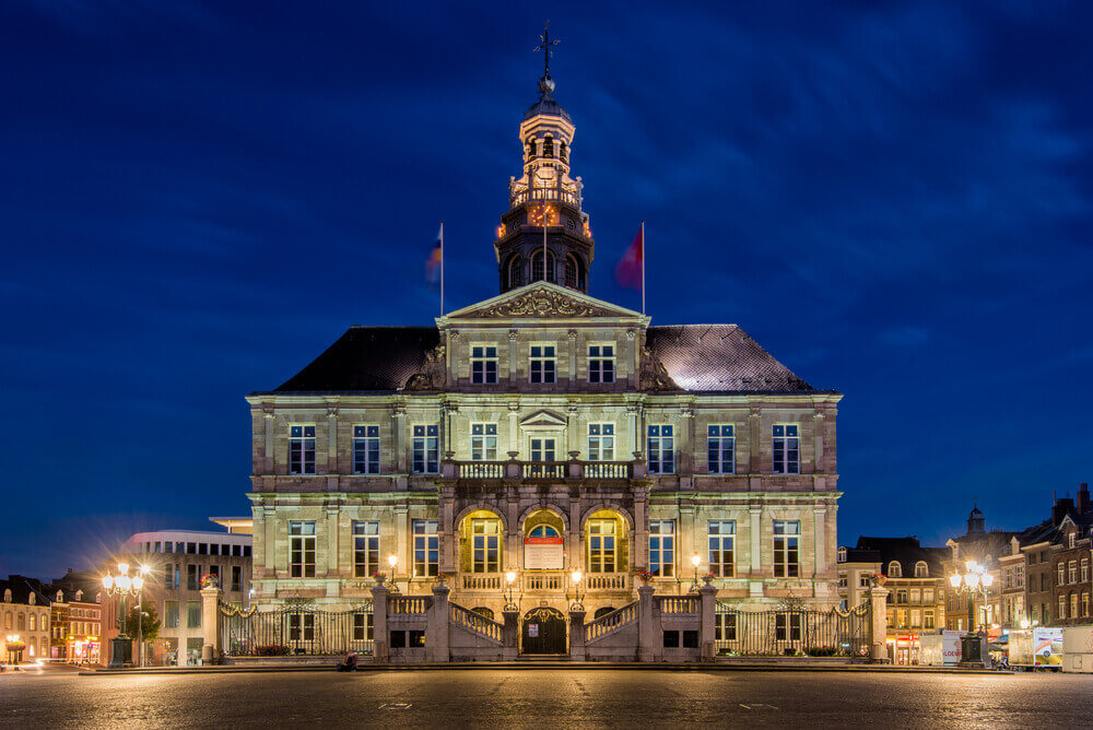 plan a trip to Europe. Historic Town Hall of the city Maastricht, The Netherlands