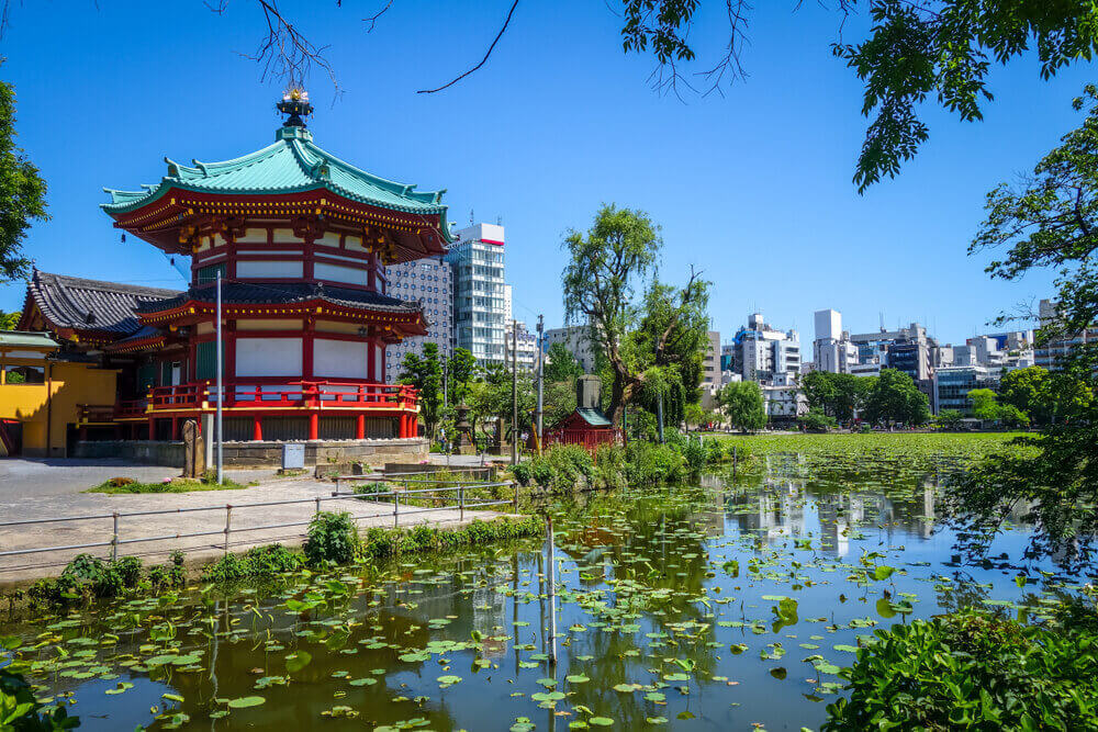 Shinobazu pond and Benten Hall Temple in Ueno, Tokyo, Japan. touring plans.