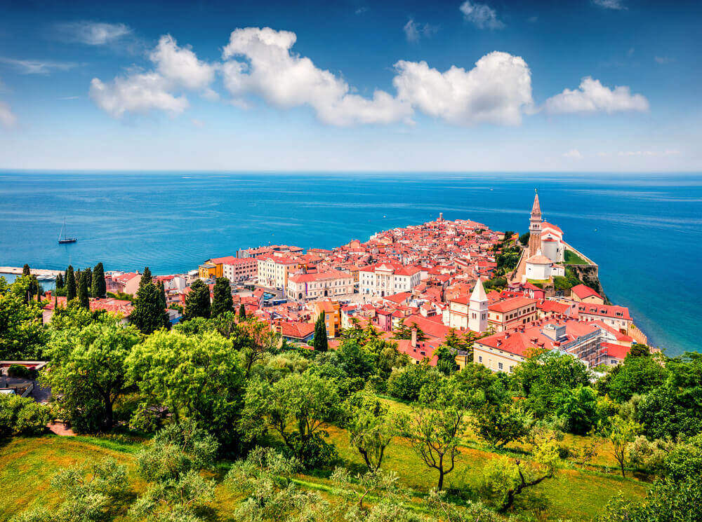 Aerial view of old town Piran. European destinations