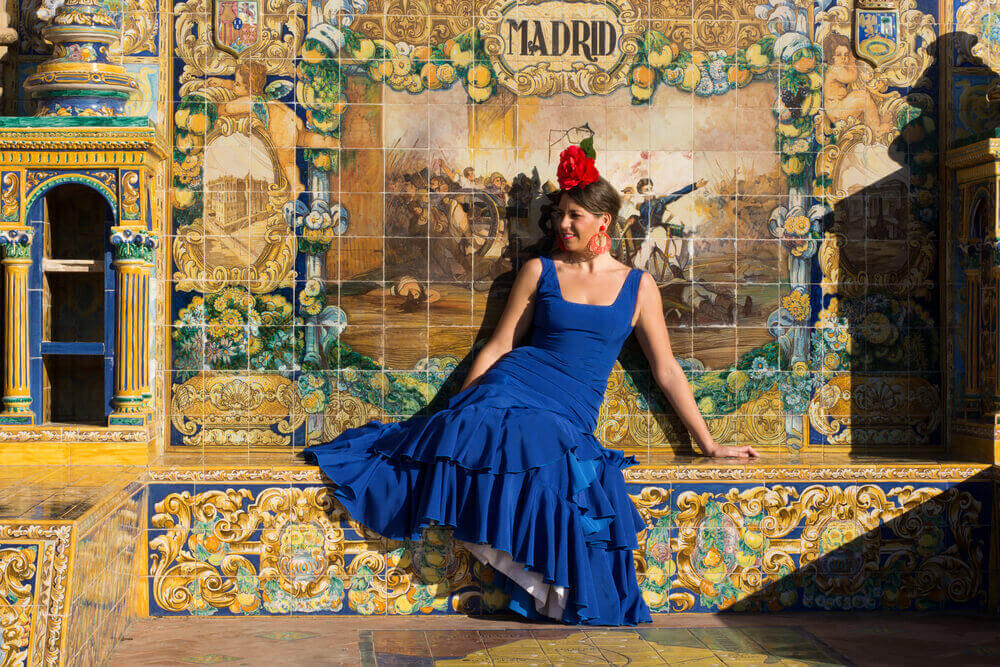 Beautiful Woman with flamenco dress. planning a trip to Spain