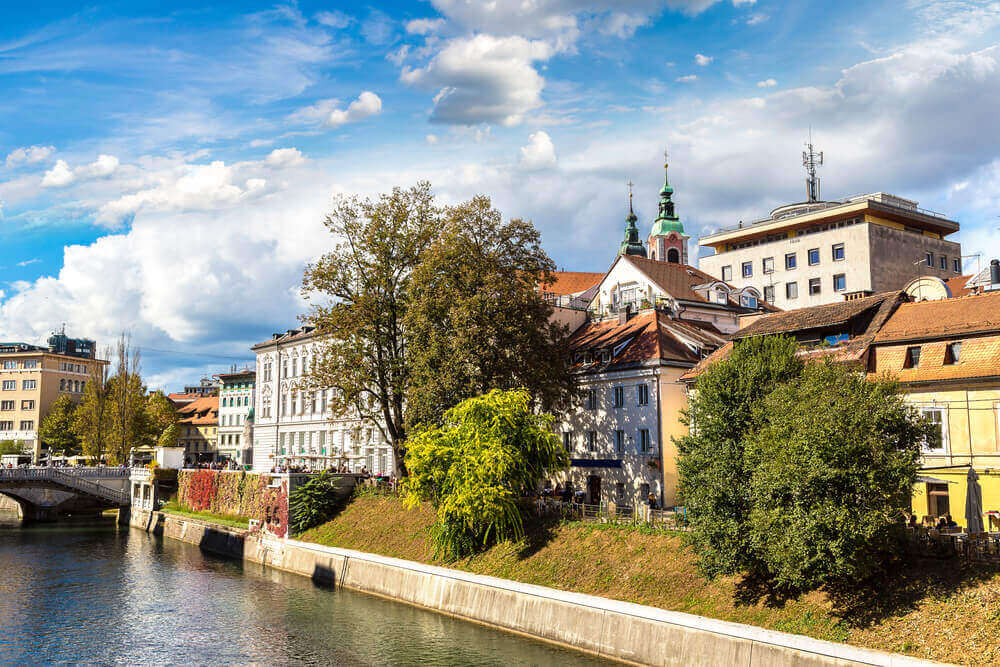 Ljubljana river in downtown in a summer day in Ljubljana, Slovenia. European destinations