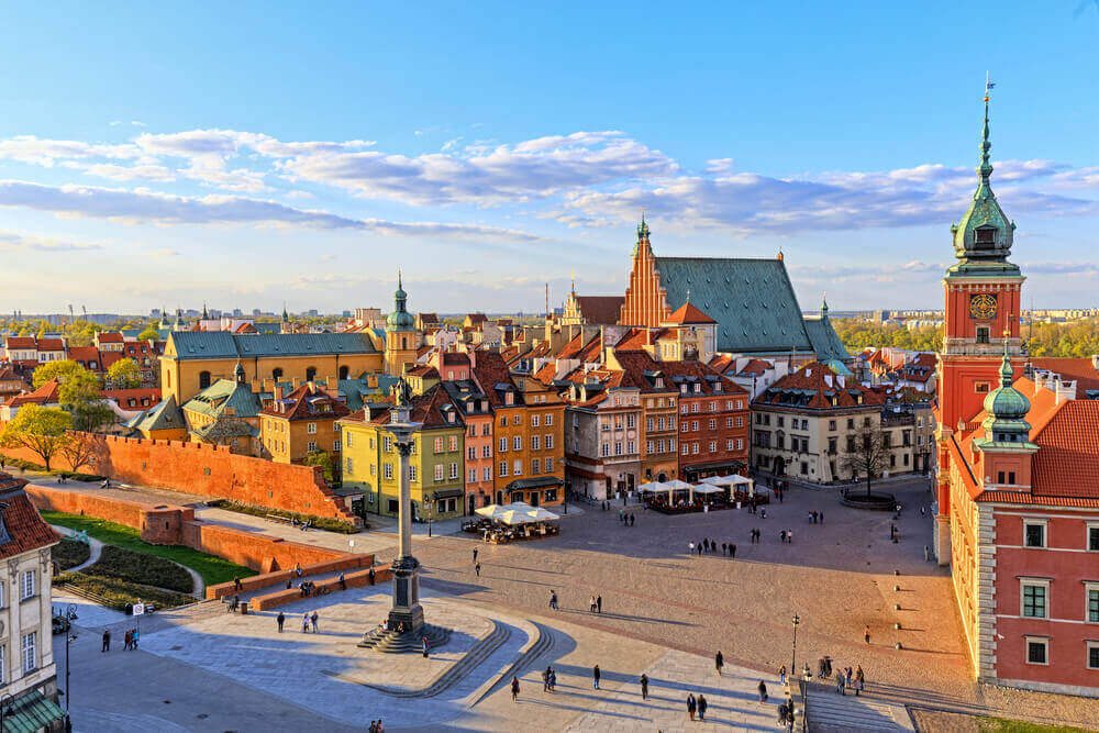 Top view of the old city in Warsaw. HDR - high dynamic range. European trip.