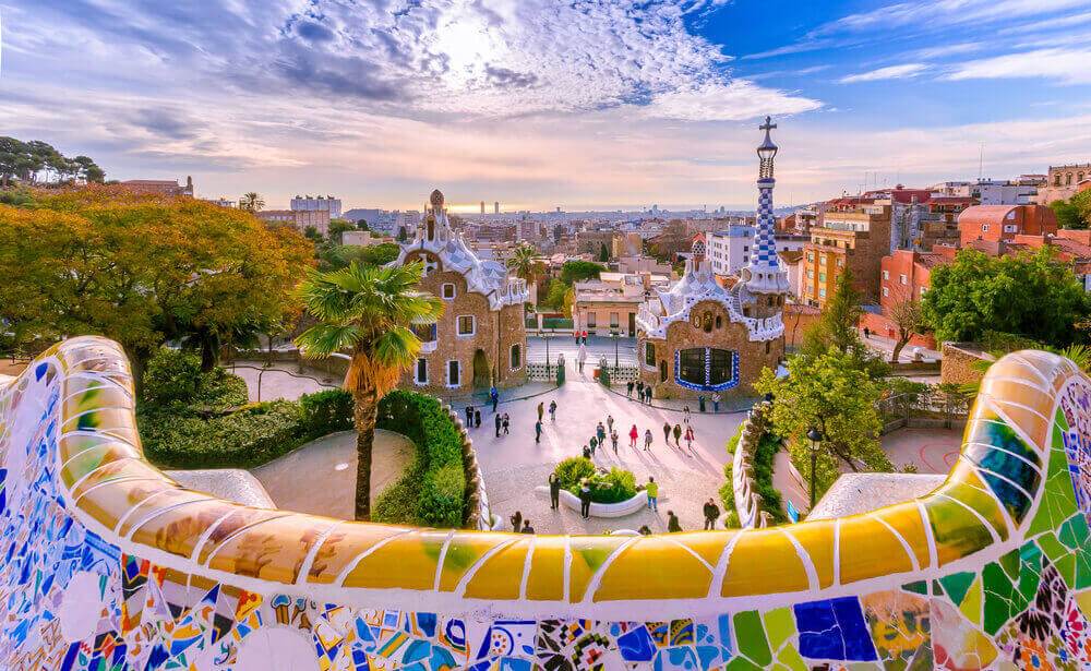 View of the city from Park Guell in Barcelona. planning a trip to Spain