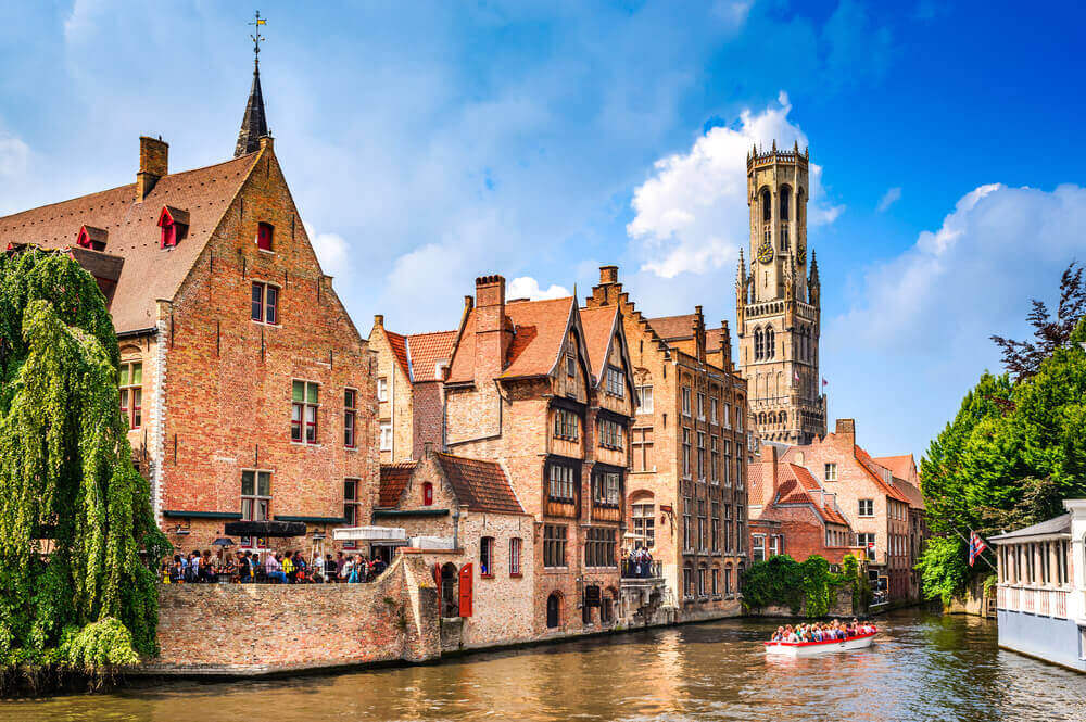 Scenery with water canal in Bruges, Venice of the North, cityscape of Flanders, Belgium.