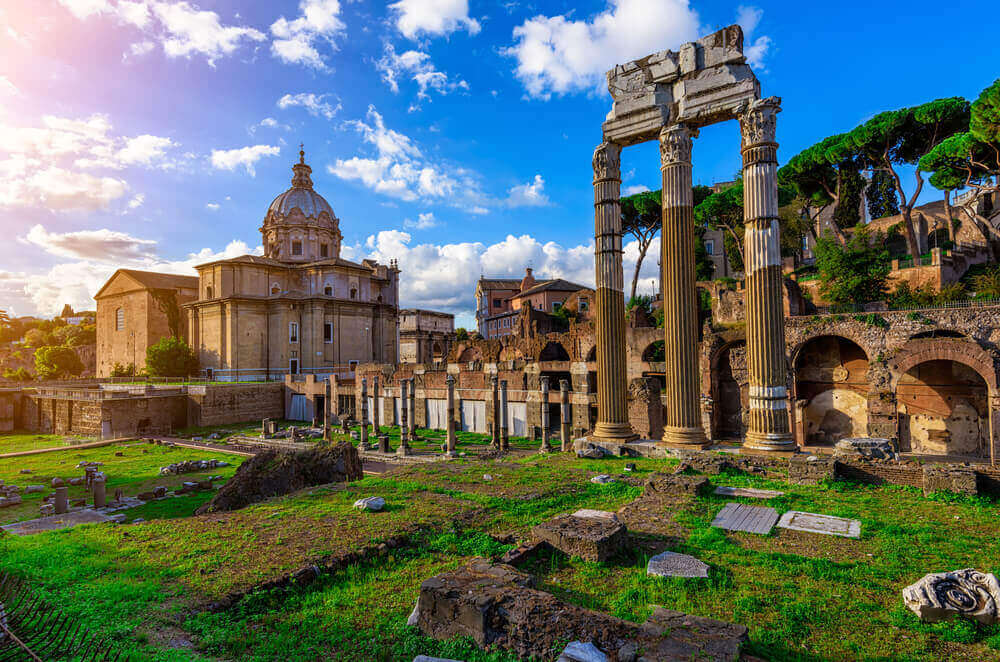 Forum of Caesar in Rome, Italy. Architecture and landmark of Rome. Antique Rome. vacation planner