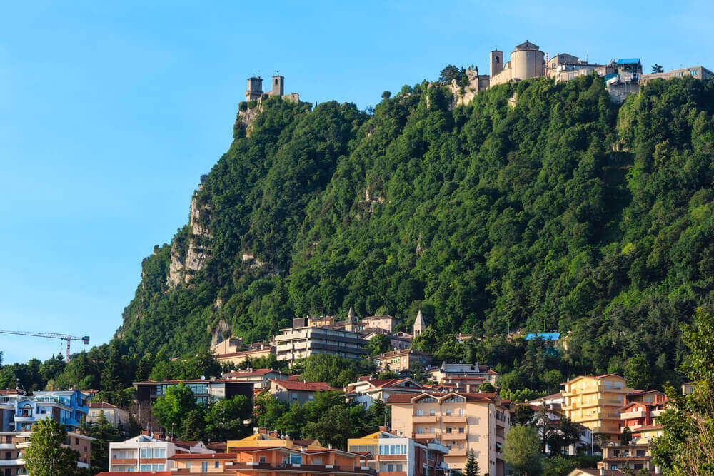The Republic of San Marino (oldest republic in the world) view with Monte Titano and Cesta tower. vacation planner